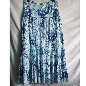 NWT Chaps Tiered Womens Maxi Skirt Elastic Waist